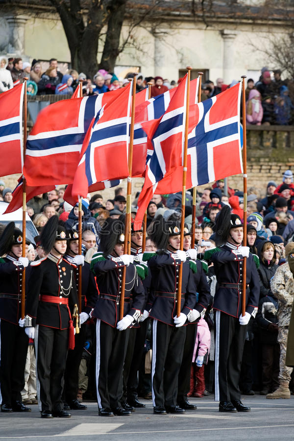 Norwegian Honour Guard at Military parade. LATVIA - NOVEMBER 18: Norwegian Color Guard at Military parade of the National Armed Forces. 90th anniversary of royalty free stock photography