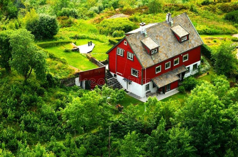 Download Norwegian house stock image. Image of countryside, remote - 5757849
