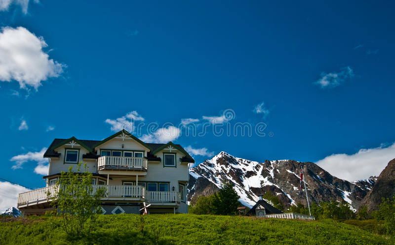 Norwegian house on a hill royalty free stock photography