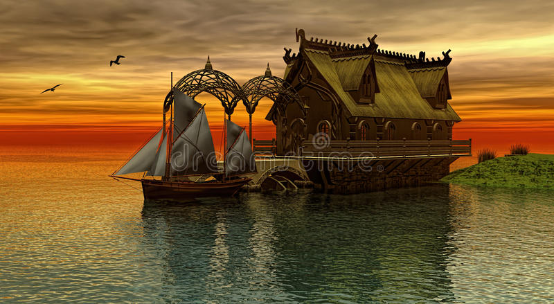 Norwegian house. Wooden Dragon head roof on at the sunset 3d rendering vector illustration