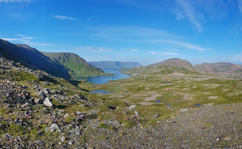 Norwegian island Mageroya. Tundra landscape of the island Mageroya in the extreme northern part of Norway stock photography