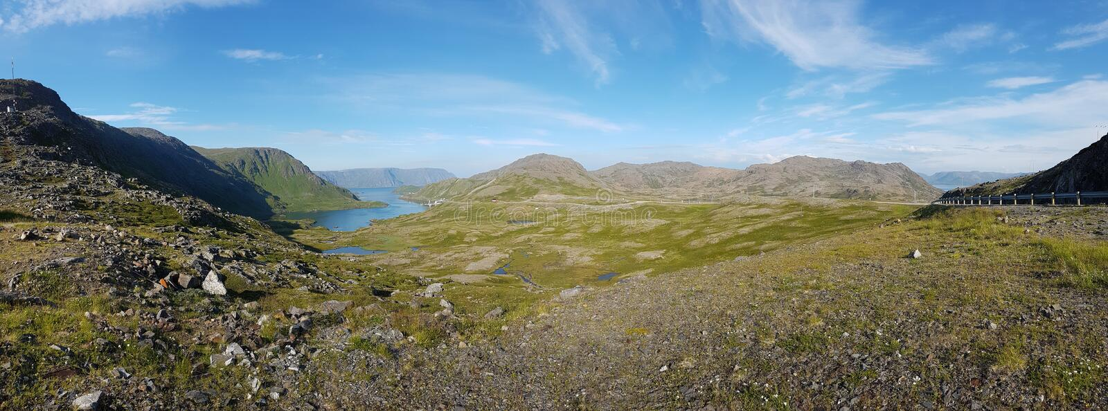 Norwegian island Mageroya. Tundra landscape of the island Mageroya in the extreme northern part of Norway stock photos