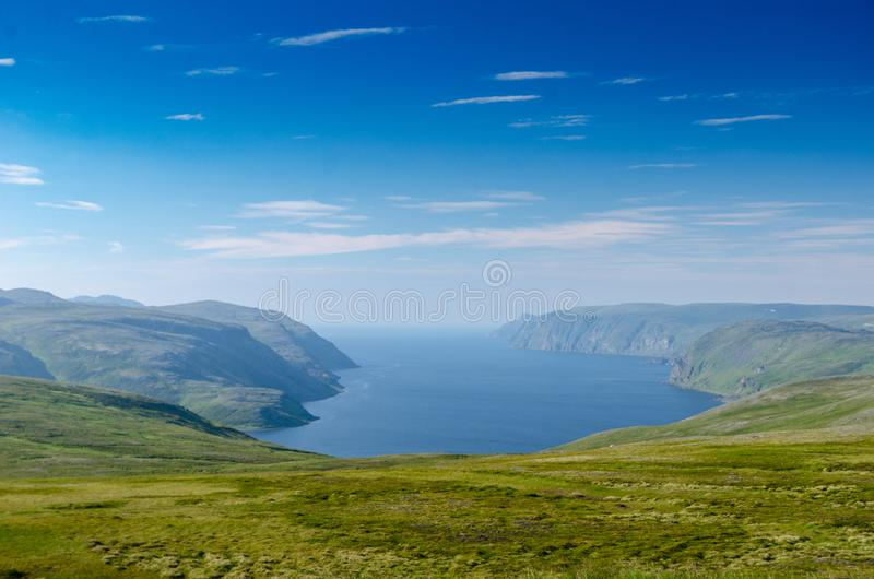 Norwegian island Mageroya. Tundra landscape of the island Mageroya in the extreme northern part of Norway royalty free stock photos