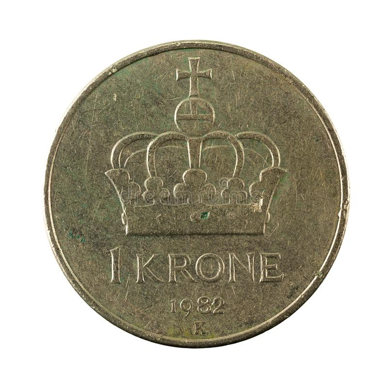 1 norwegian krone coin 1982 obverse. Isolated on white background stock photography