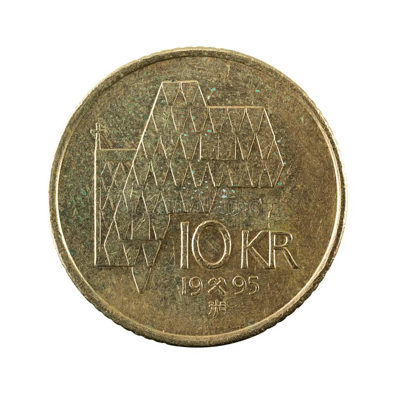 10 norwegian krone coin 1995 obverse. Isolated on white background stock image
