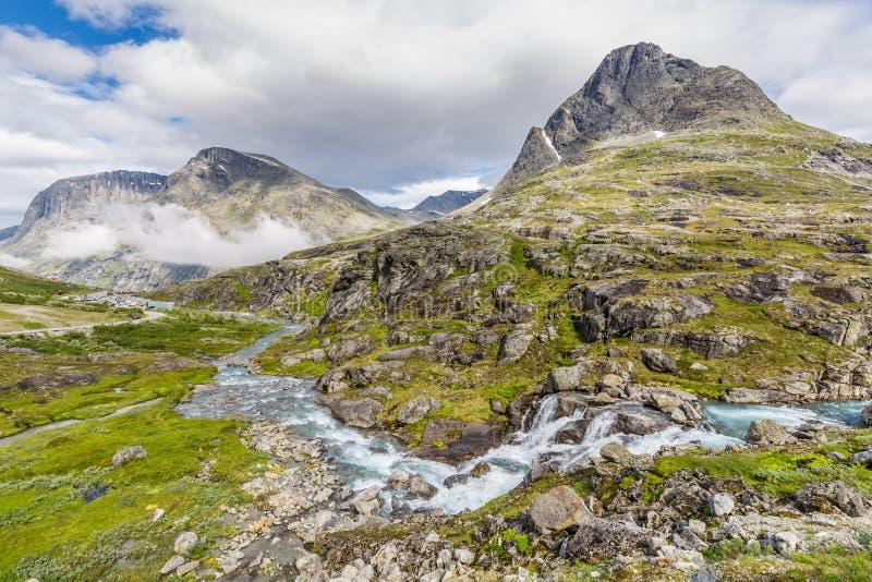 Norwegian landscape around around Trollstigen center. Norwegian mountain landscape with Trollstigen center in the background, National scenic route Geiranger stock photos