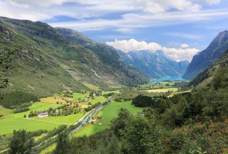 Mountain valley near Briksdal glacier, Olden - Norway - Scandinavia stock image