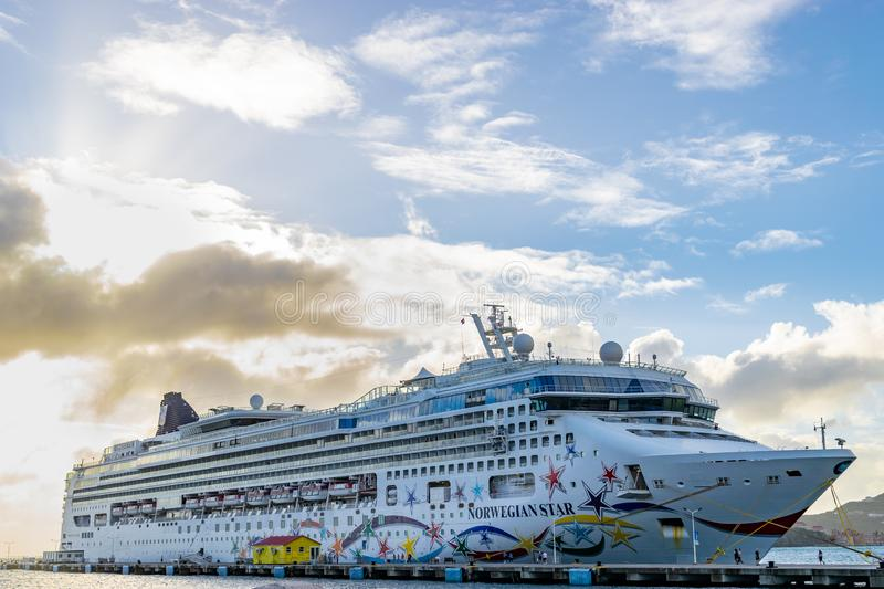 Norwegian NCL Star Cruise Ship docked at the Phillipsburg Cruise Port Terminal in Sint Maarten royalty free stock photography