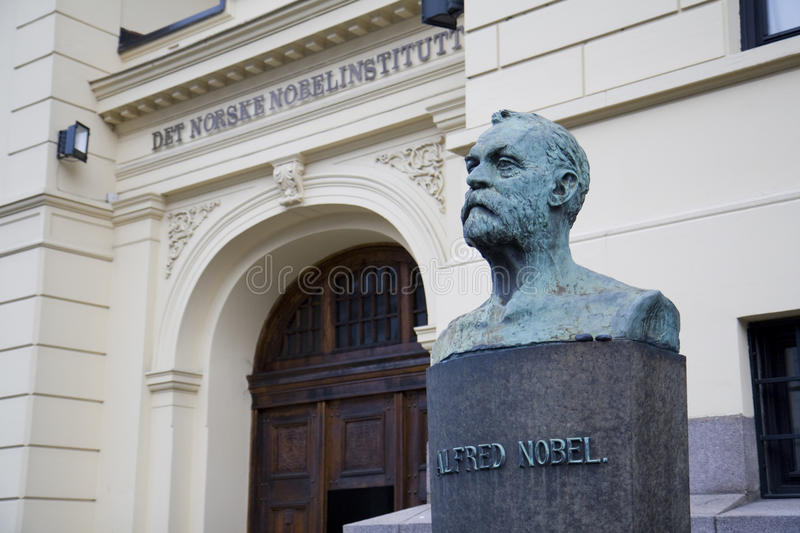 The Norwegian Nobel Institute. The entrance to the Norwegian Nobel Institute in Oslo, Norway. Statue of Alfred Nobel outside stock photo