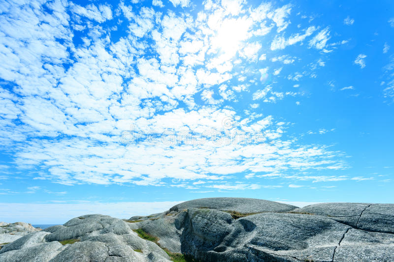 Norwegian north sea and rocky old mountains stock photo