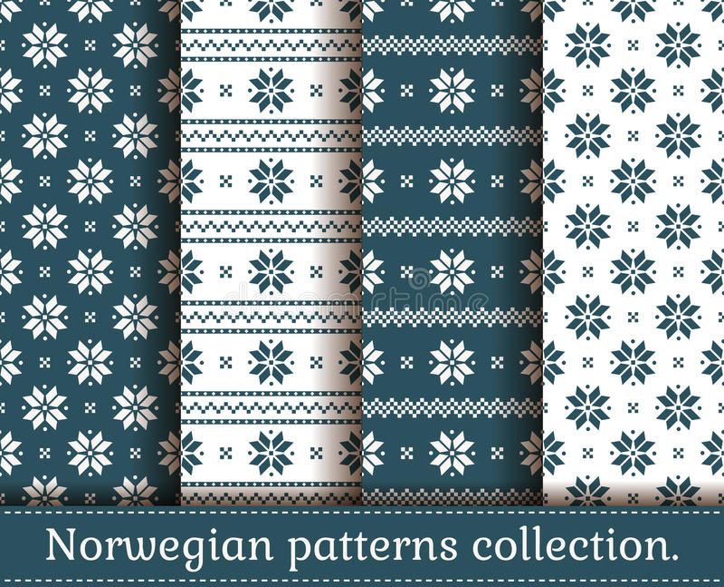 Norwegian seamless patterns. Vector set. vector illustration