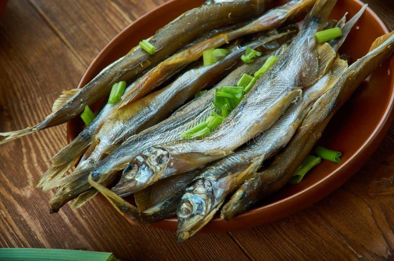 Norwegian Smoked Herring. Norwegian cuisine, Traditional assorted dishes, Top view royalty free stock image