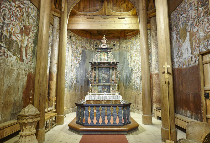 Norwegian stave church indoor. Wooden altar. Heddal. Norway tour royalty free stock images