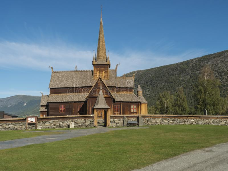 Norwegian traditional medieval wooden stave church of Lom also called the post church and palisade , dating from the royalty free stock photos