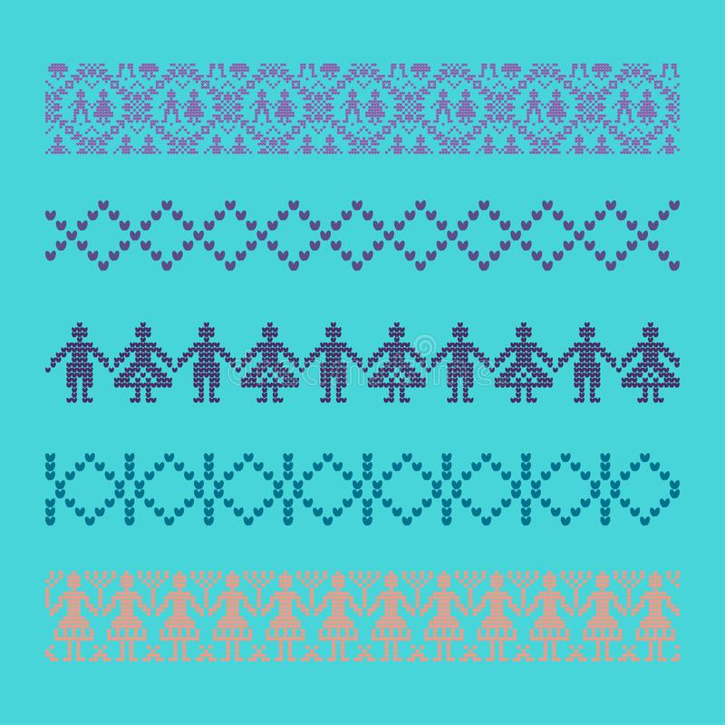 Norwegian traditional ornament. Borders with anthropomorphic ornament. Knitting Pattern. stock photo