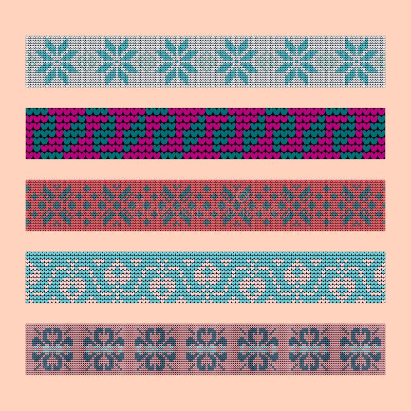 Norwegian traditional ornament. Borders with floral ornament. Knitting Pattern. royalty free stock images