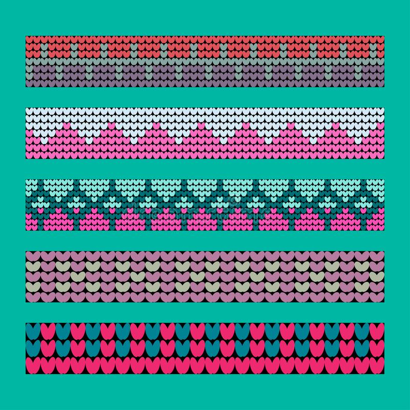 Norwegian traditional ornament. Borders with geometric ornament. Knitting Pattern. royalty free stock photos