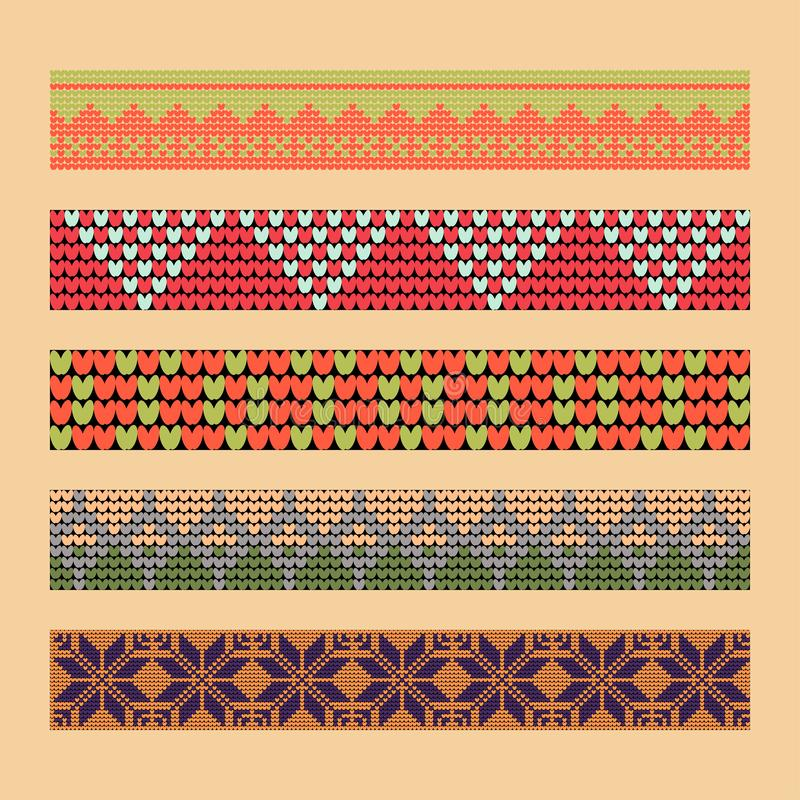 Norwegian traditional ornament. Borders with geometric ornament. Knitting Pattern. stock images