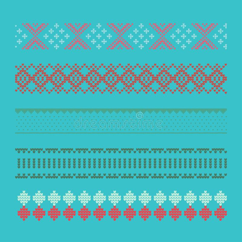Norwegian traditional ornament. Borders with geometric ornament. stock images