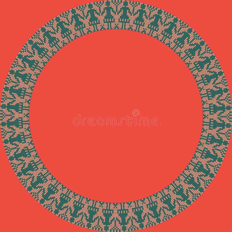 Norwegian traditional ornament. Round frame with anthropomorphic ornament. Knitting Pattern. royalty free stock photos