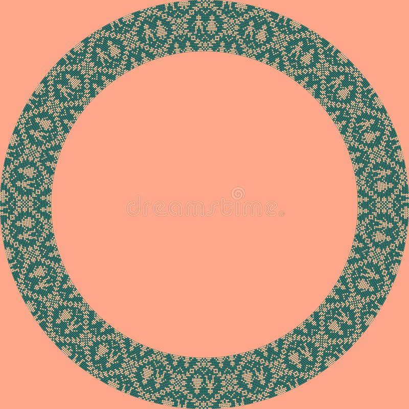 Norwegian traditional ornament. Round frame with anthropomorphic ornament. Knitting Pattern. stock image