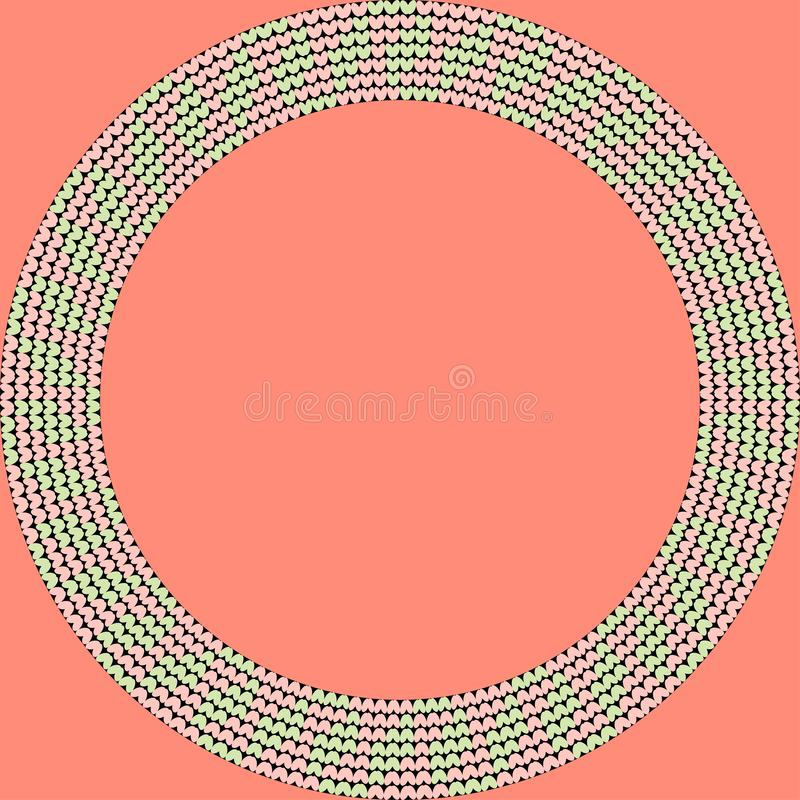 Norwegian traditional ornament. Round frame with floral ornament. Knitting Pattern. stock photography