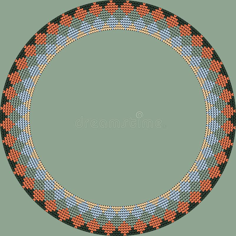 Norwegian traditional ornament. Round frame with geometric ornament. Knitting Pattern stock photography