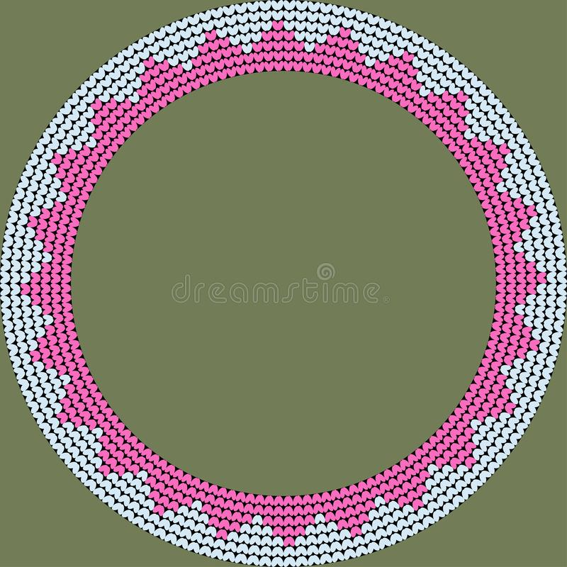 Norwegian traditional ornament. Round frame with geometric ornament. Knitting Pattern. royalty free stock photography