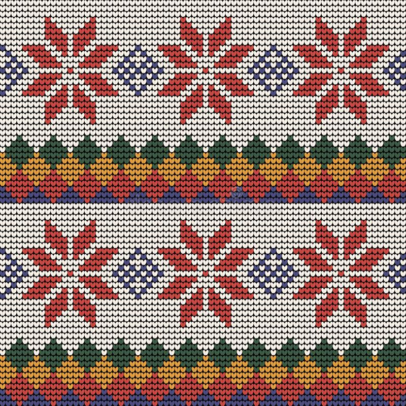 Norwegian traditional ornament. Seamless pattern with floral ornament. Knitting Pattern. stock images