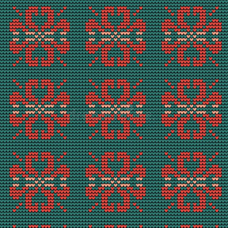 Norwegian traditional ornament. Seamless pattern with floral ornament. Knitting Pattern. stock image