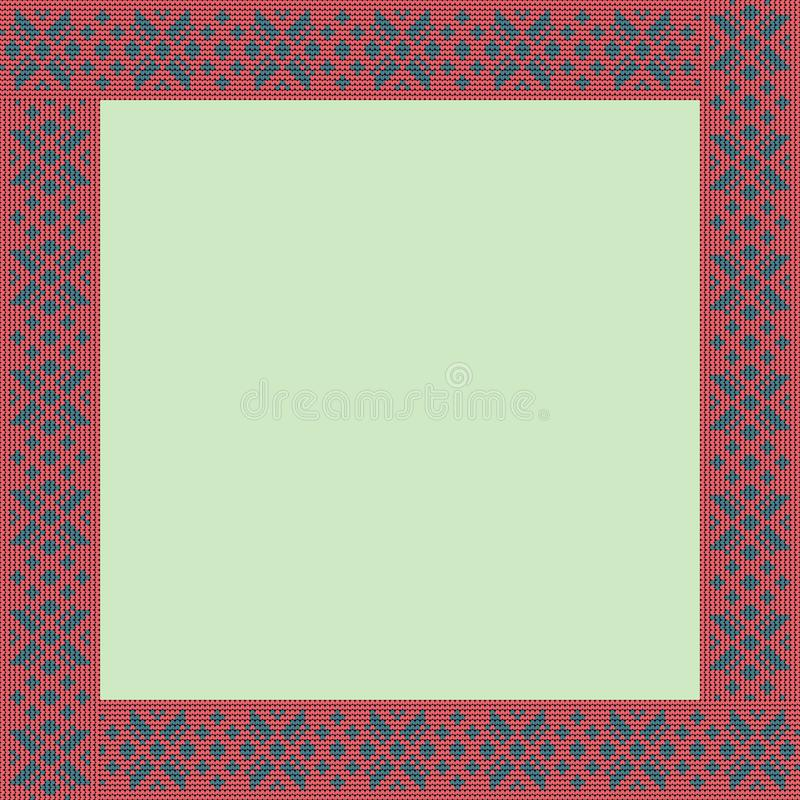Norwegian traditional ornament. Square frame with floral ornament. Knitting Pattern. stock photo