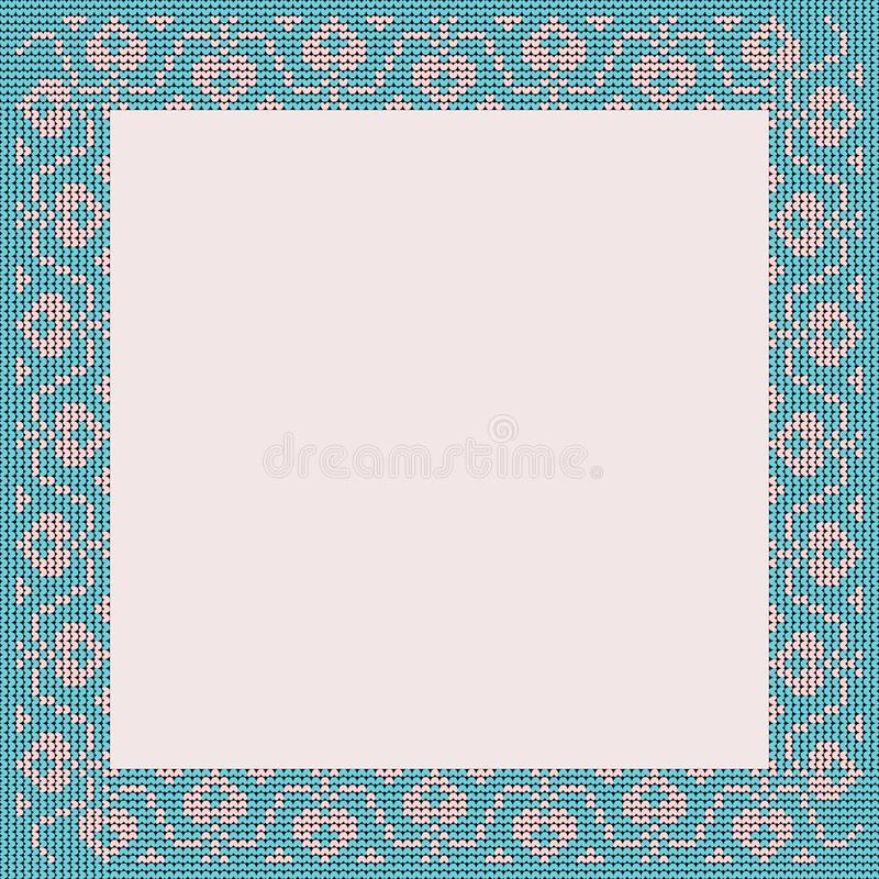 Norwegian traditional ornament. Square frame with floral ornament. Knitting Pattern. royalty free stock images