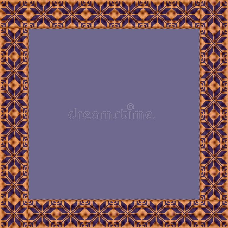 Norwegian traditional ornament. Square frame with geometric ornament. Knitting Pattern. royalty free stock photography