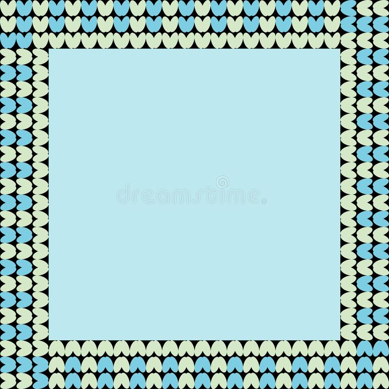 Norwegian traditional ornament. Square frame with geometric ornament. Knitting Pattern. stock photo