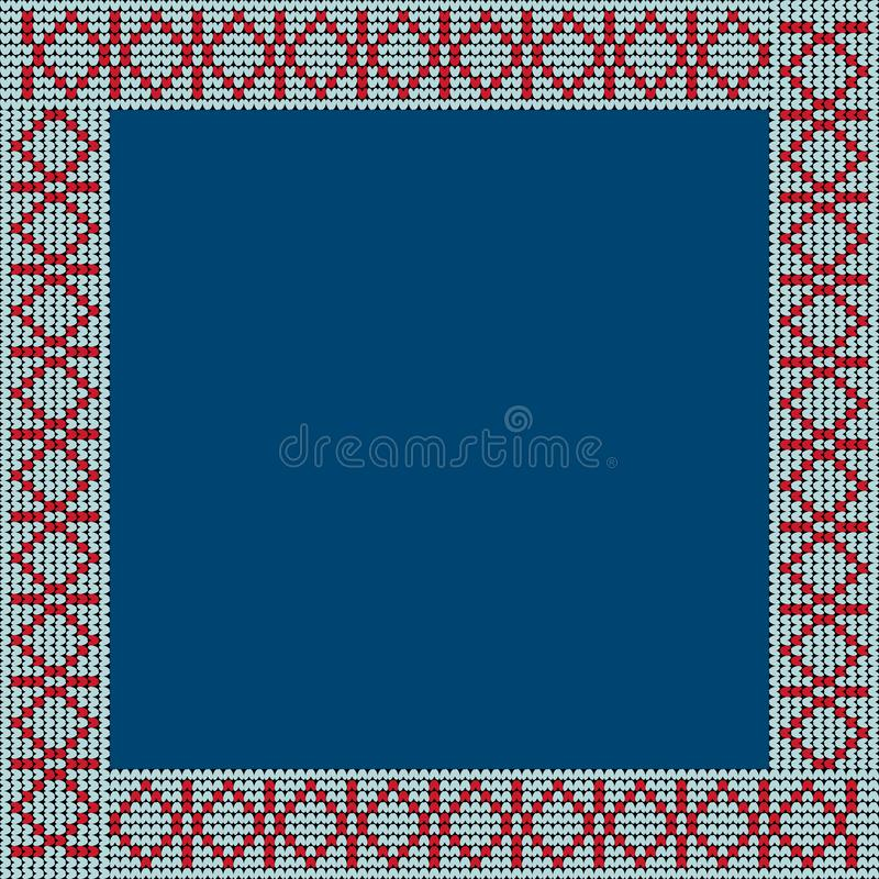 Norwegian traditional ornament. Square frame with geometric ornament. Knitting Pattern. royalty free stock images