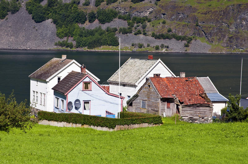 Norwegian village. Photo of Undredal, a little Norwegian village on the Sognefjord, Norway stock image