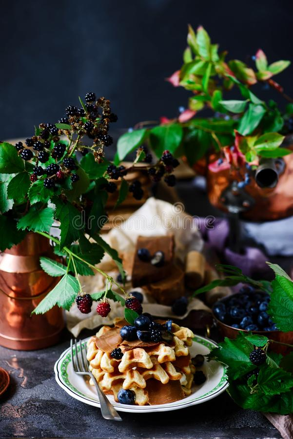 Norwegian waffles with brunost cheese and blueberries stock images