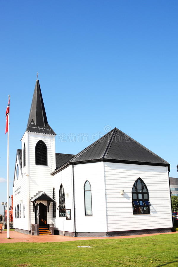 Norwegische Kirche, Cardiff-Bucht lizenzfreies stockbild