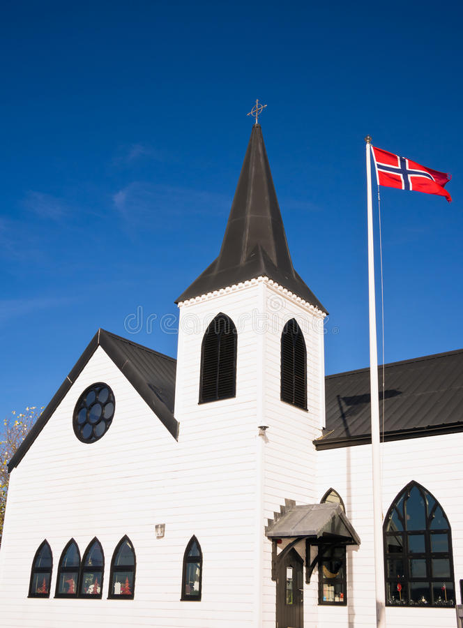 Norwegische Kirche im Cardiff-Schacht, Wales lizenzfreie stockfotografie
