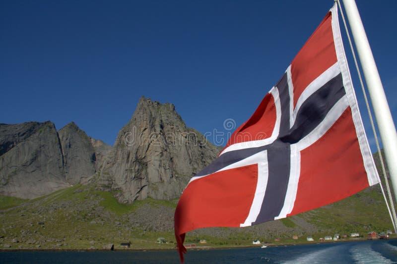 Norwegische Markierungsfahne und Fjord lizenzfreie stockfotografie