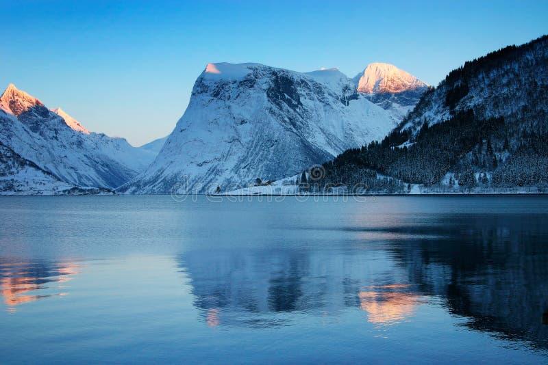 norweska brzegu sunset zima fotografia stock
