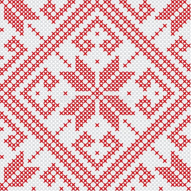 Norweski bezszwowy wzór Skandynawów płatki śniegu i gwiazdy ilustracja wektor