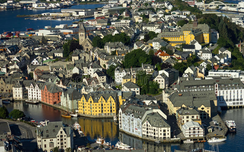 Norweski grodzki Alesund fotografia royalty free