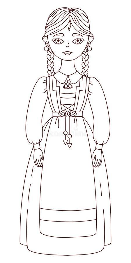 Norweski scandinavian dziewczyny doodle wektoru illuastration ilustracja wektor