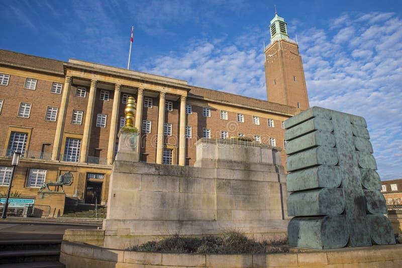 Norwich City Hall royaltyfria bilder