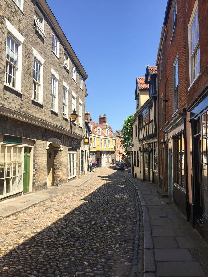 Norwich elm hill. Cobbled stone street in Norwich, United Kingdom royalty free stock photos