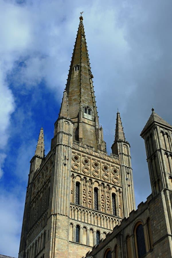 Norwich katedry iglica obrazy stock