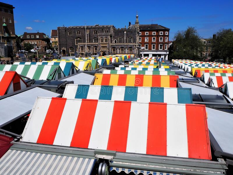 Norwich Market, UK. Colorful Canopies royalty free stock image