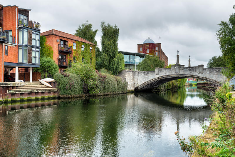 Norwich in Norfolk. A bridge over the river Yare at Norwich city centre in Norfolk royalty free stock images