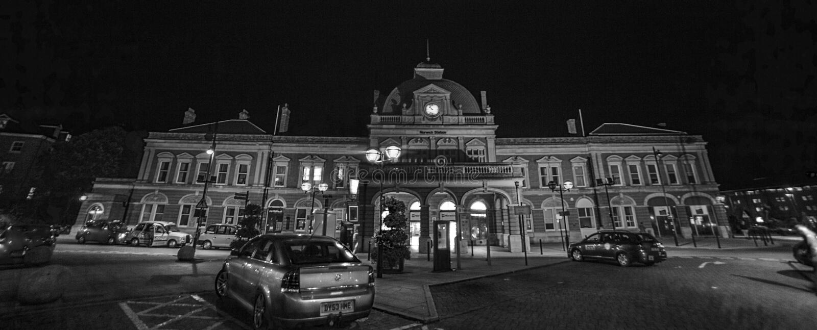 Norwich train station. At night royalty free stock photos
